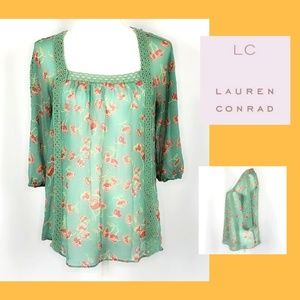 Lauren Conrad Sheer Green Floral Lace Top Size XS